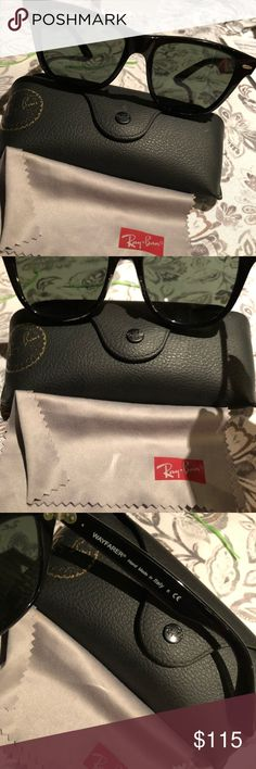 Ray ban wayfarer sun glasses (glass lenses) Ray ban wayfarer sun glasses (glass lenses)  Like new  Worn a few times Ray-Ban Other