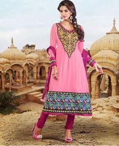 Buy Slightly Light Pink Anarkali Salwar Kameez at  Price: $43.13 USD