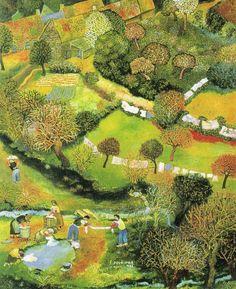 lessive de printemps. de Lucien Pouëdras Kid Illustration, Illustrations, Landscape Paintings, Landscapes, Art Houses, Naive Art, Home Art, Cities, Folk