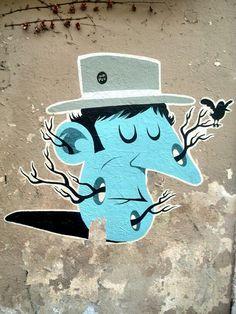 Mr Pee - street art - Paris 20, rue des couronnes (juil 2014)