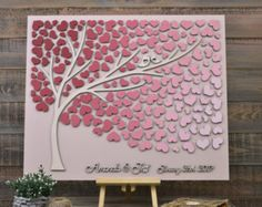 Cuori di legno 3D albero Wedding Guest Book alternativa personalizzata rustico matrimonio rustico Guest Book Guestbook albero unico della vita