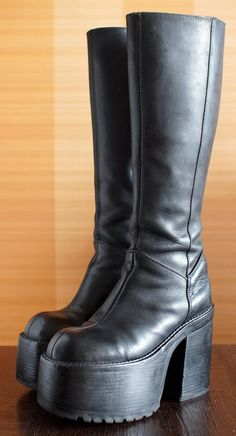 bd0773cffe14 BUFFALO super high platform boots 90 s Club Kid Grunge Gothic 90s boots  vintage killler boots chunky