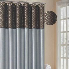 Duck River Textiles Bordered Dion Shower Curtain with Jacquard Border ChocolateBlue *** See this great product.