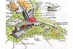Idea inicial. Colegio Santo Domingo Savio. Medellín, Colombia. 2008Obranegra arquitectos Landscape Drawings, Architecture Drawings, Concept Architecture, School Architecture, Landscape Architecture, Landscape Design, Adaptive Design, Interior Sketch, Hand Sketch