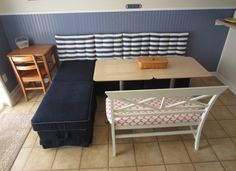 Kitchen Booth out of IKEA Ottomans
