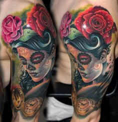 Dia de los muertos theme tattoo by Csaba Mullner - tattoo artist and painter based in Paris. French Tattoo Scene. #tattoo #tattoos #ink
