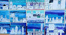 3. třída 2 vyuč. hodiny 1. hodina- podklad vodovky, anilínky, vločky- tempera 2. hodina- kresba domečků tuší nebo fixou Tempera, Winter Christmas, Art Lessons, Crafts, Winter Time, Paint, Color Art Lessons, Manualidades, Handmade Crafts