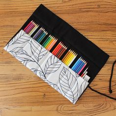 7/9/13 Pockets Pencil Wrap Portable Canvas Roll Up Pen Case Leaves Stationary Storage Bag Pouch For Painting School Supplies