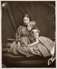 """Lewis Carroll 1832-1898  Marion """"Polly"""" and Florence """"Flo"""" Terry,14 July 1865, 92 Stanhope Street  [Two little sisters of Ellen Terry]  via RMN"""