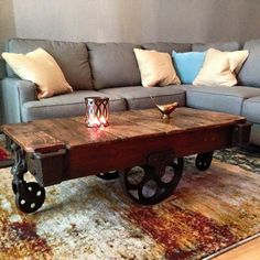 Lineberry Railroad cart in its new home as a coffee table. these beauties left with unique daisy wheels, original stencil, and unique grain. These are getting harder to find claim yours today!