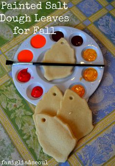 Painted salt dough leaves for Fall