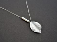 10% OFF Leaf necklace Pearl necklace Silver by TheMichelleJewelry