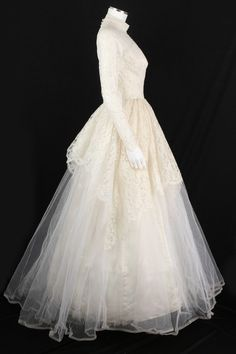 VTG 1950s ALFRED ANGELO EDYTHE VINCENT CHANTILLY LACE TULLE WEDDING GOWN SZ XS | eBay