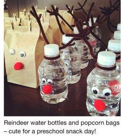 Reindeer Water Bottle And Popcorn Bags
