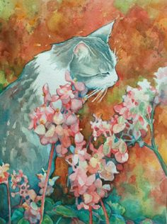 Cat in Begonia Garden Watercolor Art Print by CurioCabinet on Etsy, $20.00