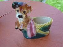 Vintage Royal Copley Puppy In A Picnic Basket Planter