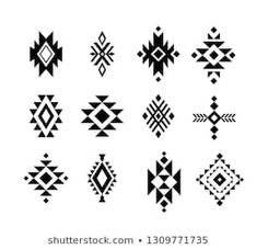 Find Aztec Tribal Shapes Symbols Collection Vector stock images in HD and millions of other royalty-free stock photos, illustrations and vectors in the Shutterstock collection. Native American Symbols, Native American Design, Native Design, Tribal Tattoos Native American, Native American Patterns, American Indians, Motifs Aztèques, Aztec Art, Aztec Tribal Patterns