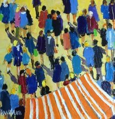 August 2015 new arrival by Caudron. Another perspective of people mingling. Click to view others by Caudron: http://westportrivergallery.com/dr-caudrons-french-diabetes-physician-paintings-are-based-on-a-perfect-match-between-the-diverse-structures-of-motifs-t.html