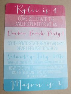 Invitation :: Ombre Beach Party Theme