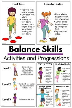 Balance Activities and Progressions Physical Activities For Kids, Motor Skills Activities, Movement Activities, Gross Motor Skills, Sensory Activities, Learning Activities, Preschool Activities, Kids Learning, Educational Activities