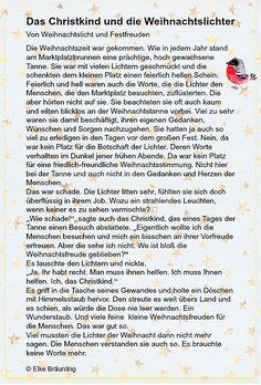 The Christ Child and the Christmas Lights * Elkes children's stories Short Article, Reality Check, German, Elke Bräunling, Verse, Ursula, Storytelling, Kindergarten, Poems
