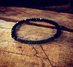 Black CZsilver pave bracelet #Beaded