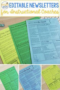 Editable Newsletters for Coaches & Administrators Professional Learning Communities, Professional Development For Teachers, Teacher Memes, Teacher Blogs, Teacher Stuff, School Template, Life Coach Quotes, Math Coach, Classroom Newsletter