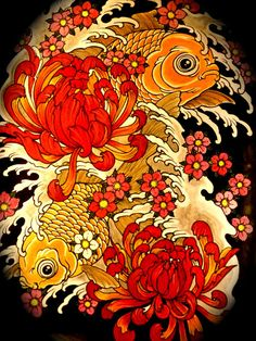 asian art, fishes, orange gold, red