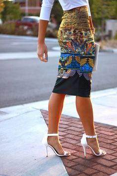 Printed Pencil Skirt, white crop top, ankle strap sandals.