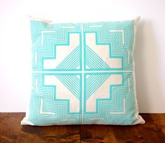 Stunning custom and creative textiles and patterns by Shapes & Colors (on Etsy) | Love this Aqua Native Quilt Pillow
