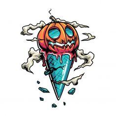 dibujos Halloween Ice-cream Cone With Pumpkin Graffiti Art, Graffiti Doodles, Graffiti Drawing, Cool Art Drawings, Art Drawings Sketches, Cartoon Drawings, Graffiti Tattoo, Cartoon Kunst, Cartoon Art