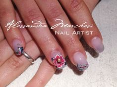 Wild Orchid nail art by Alessandra Marchesi nail designer. Acrylic squared nails + micro painting. <3