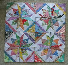 16 Mini Quilt Blocks 3 1 2 ea Square Dance This is a set of 16 paper pieced SQUARE DANCE mini blocks. I used Carol Doak lightweight paper that is easy to remove Paper Pieced Quilt Patterns, Quilt Block Patterns, Quilt Blocks, Star Quilts, Scrappy Quilts, Mini Quilts, Quilting Projects, Quilting Designs, Quilt Design