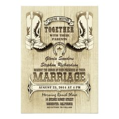Cowboy Shoes Western Wedding Invitations Boots Party