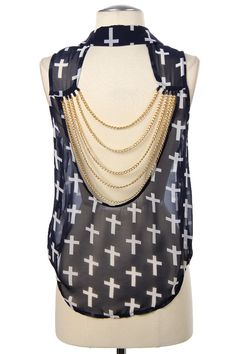 SHEER CROSS PRINTED BUTTON DOWN TOP
