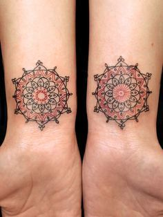 mandala-flowers-tattoos-on-both-wrists.jpg (236×314)