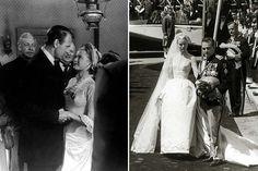 """À esquerda: Grace Kelly com Gary Cooper em """"High Noon"""" (1952). À direita: com Príncipe Rainier de Monaco, 1956."""