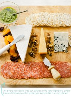 build your perfect cheese plate: soft cheese + hard aged cheese + blue cheese + spread + cured meats + garnishes