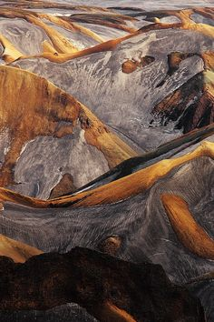 """le-vicieux: """" Alexandre Deschaumes: """"This is the landscape of Landmannalaugar mountains , Iceland , just after grimsvotn volcano eruption. The snow is covered with ash and this evoques inspiring lines. Alexandre Deschaumes, Landscape Photography, Nature Photography, Landscape Photos, Travel Photography, Night Photography, Photography Tips, Beautiful World, Beautiful Places"""
