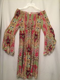 60's 70's Hippie Bright Psychedelic Paisley Bell Sleeved  Boho Dress by Cezanne #cezanne