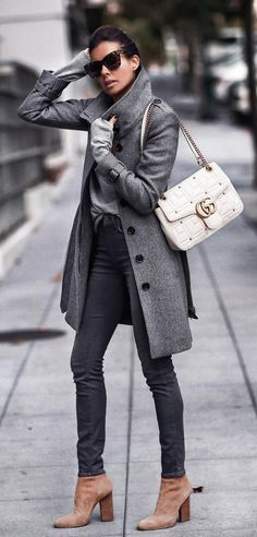 A narrow jean can be hard but with a long jacket it works beautifully!  grey coat