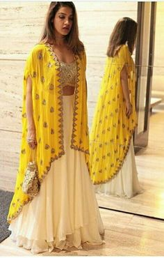 60 GM Georgette Party Wear Lehenga Choli In Cream and Yellow Colour Buy Best price latest designer Georgette Party Wear Lehenga Choli In Cream and Yellow Colour online in india Cash on Delivery Available! Indian Attire, Indian Wear, Indian Outfits, Party Wear Indian Dresses, Dress Party, Indian Diy, Indian Ethnic, Indian Dresses For Girls, Yellow Party Dresses