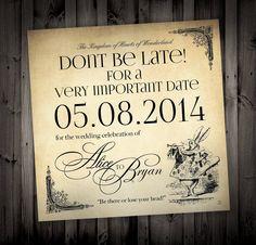 Alice in Wonderland Themed Wedding Invitations by NimbiDesign, $25.00
