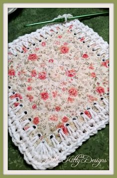 """Crochet Granny Square Ideas Beautiful fabric and crochet blend to create a stunning quilt that will make your heart smile. Be careful! This """"Fusion Quilt"""" and its construction are addicting! Use up your scraps and make what was - Crochet Bedspread, Crochet Fabric, Crochet Quilt, Crochet Motif, Crochet Stitches, Crochet Patterns, Crochet Edgings, Knitting Patterns, Diy Crafts Crochet"""