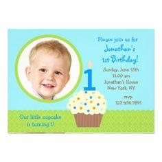 cupcake Boy Photo Birthday  Invitations