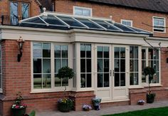 flat roof with orangery light external - Google Search Flat Roof, Conservatory, Windows, Outdoor Decor, Google Search, House, Home Decor, Garden, Kitchen