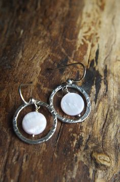 Fine silver and soft pink mother of pearl earrings by silverpirate