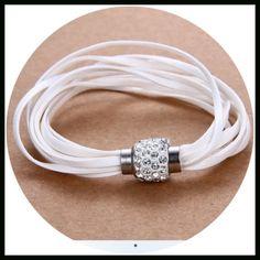 🆑 Gone 1/31/17 🆑 White Leather and Rhinestone magnetic bracelet Jewelry Bracelets