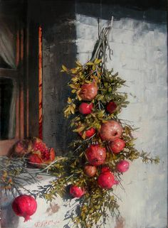 Pomegranates Beside An Old Window Painting