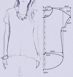 "vamos combinar: MOLDE BLUSA MULLET ""Smooth sleeve hi/low tshirt"", ""check out my website for more . Tunic Sewing Patterns, Sewing Blouses, Blouse Patterns, Clothing Patterns, Sewing Stitches, Coat Patterns, Fashion Sewing, Diy Fashion, Fashion Tips"